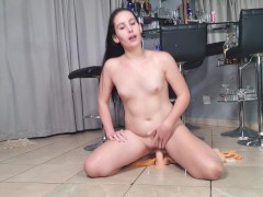 Chubby whore getting a piss facial while riding a dildo