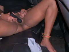 I Gave the Uber Driver a Free Show with a Loud Squirting Orgasm in the Back Seat of Taxi - 4K